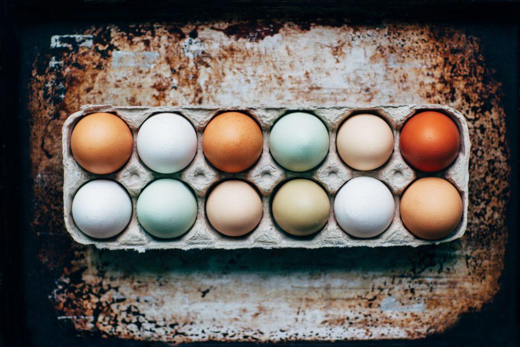farm-fresh eggs in a carton