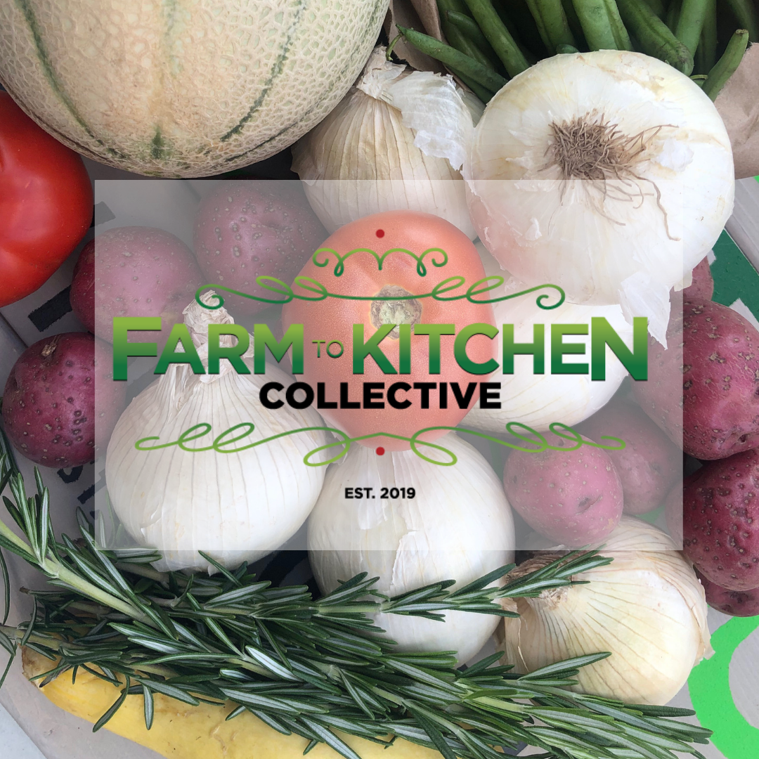 This is a photo of some onions, a melon, tomatoes, potatoes and squash with rosemary. The logo is in the center