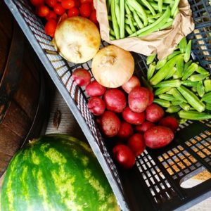 This is an example of our Farm Boxes. The image contains a photo of red potatoes, yelloe onions, green beans, baby tomatoes, okra and watermelon.