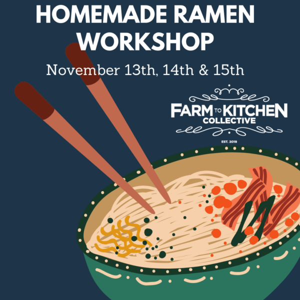 This is a bowl of ramen with a blue background. Chopsticks are coming out of the bowl and it announces Homemade Ramen Workshop, November 13, 14 and 15th.